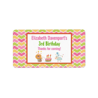 Birthday Cake with Party Lion and Balloon Sheep Label