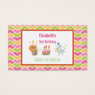 Birthday Cake with Party Lion and Balloons  Thanks Business Card