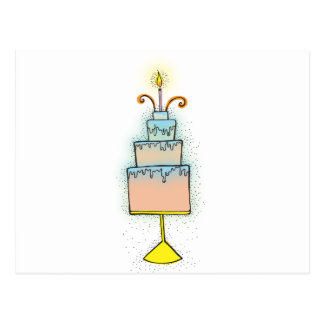 BIRTHDAY cake with twirly curly candles Post Card