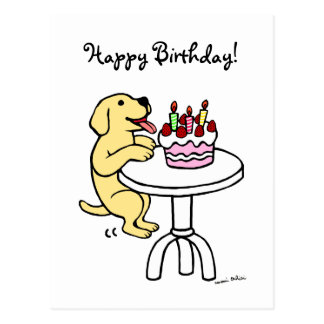 Birthday Cake Yellow Labrador Cartoon Postcard