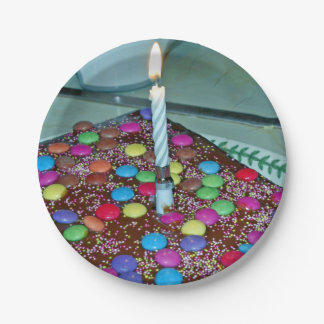 birthday candle and cake plate 7 inch paper plate
