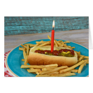 birthday candle in hot dog with french fries greeting card