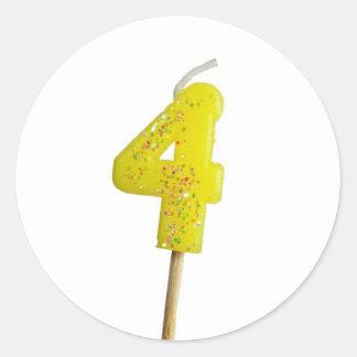 Birthday candle number 4 round sticker