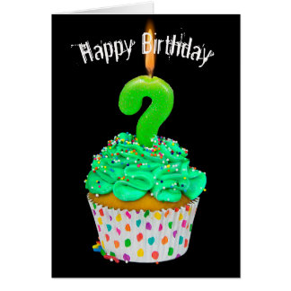 birthday candle question mark on cupcake card