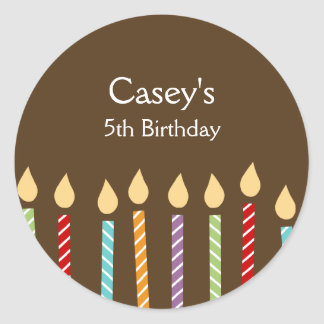 Birthday Candles Favor Stickers Round Sticker