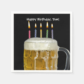 birthday candles in beer mug disposable napkin