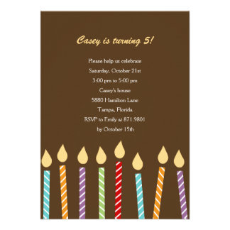 Birthday Candles Party Invitation Announcements