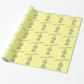 Birthday Candles-Two Years Old/Personalize Wrapping Paper