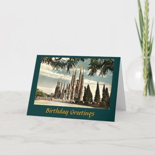 Barcelona Spain Personalised Birthday Greetings Card