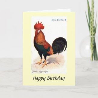 Birthday Card - Brown Leghorn Cock