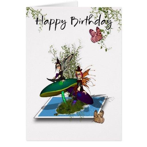 Birthday Card - Cute Gothic Fairies Springing From