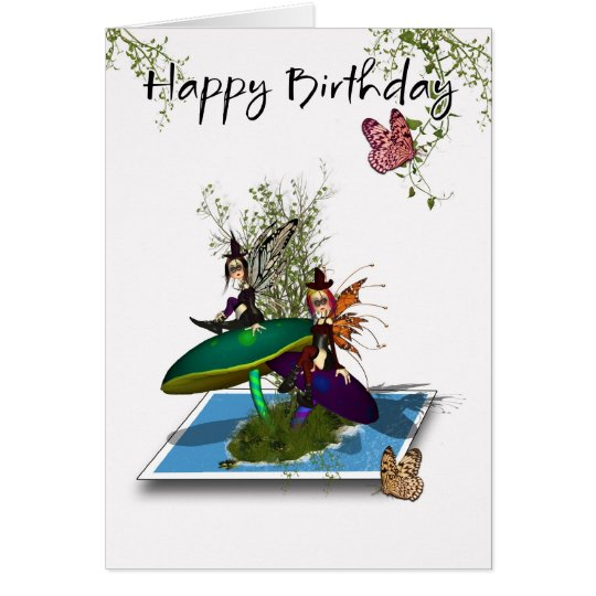 Birthday Card - Cute Gothic Fairies Springing From
