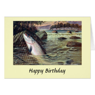 Birthday Card - Fishing - Salmon