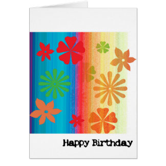 Birthday Card - Floral (Blue, Orange)