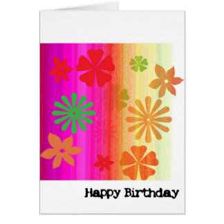 Birthday Card - Floral (Pink, Orange)