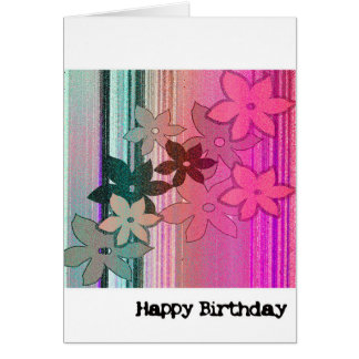 Birthday Card - Flower Power (Pink, Turquoise)