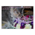 Birthday Card, flowers and cat Card
