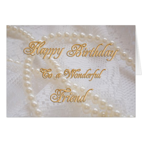 Birthday card for a friend with pearls