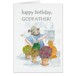 Birthday Card for a Godfather - Gardening