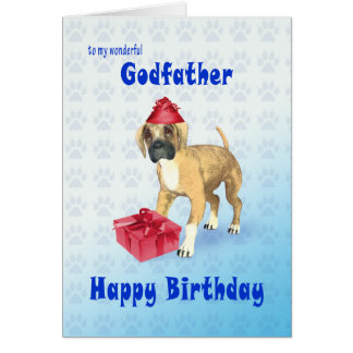 Birthday card for a godfather with a puppy