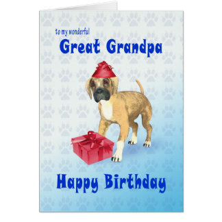 Birthday card for a great grandpa with a puppy
