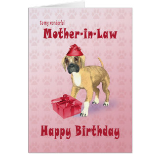 Birthday card for a mother-in-law with a puppy