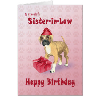 Birthday card for a sister-in-law with a puppy