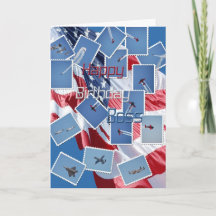 Happy Birthday, Boss, blue cut out flower Card