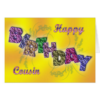 Birthday card for cousin with floral text
