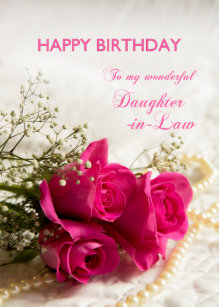 Birthday Card For Daughter In Law With Pink Roses
