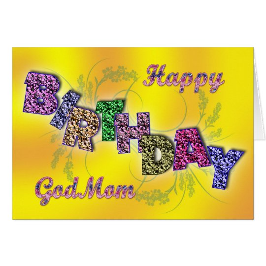 Birthday card for god mum with floral text