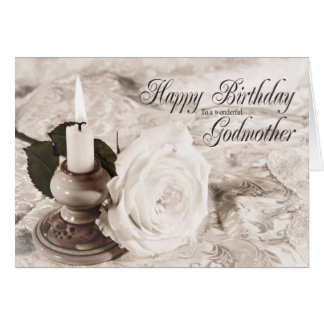 Birthday card for Godmother, The candle and rose