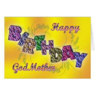 Birthday card for godmother with floral text