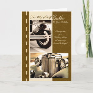 Birthday card for half brother, classy cars