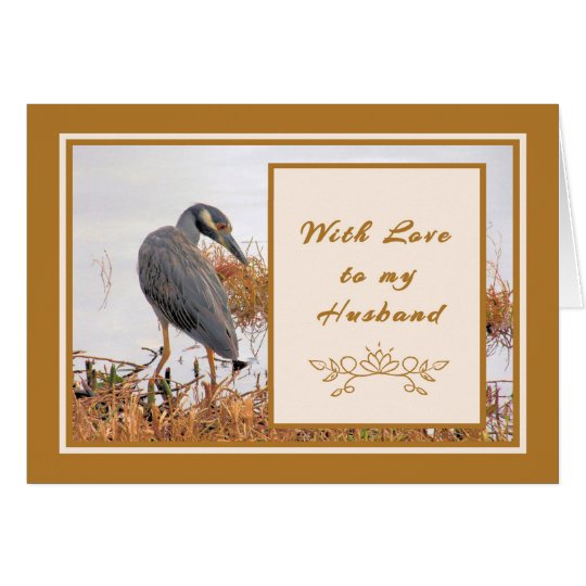 Birthday Card for Husband Gold with Heron