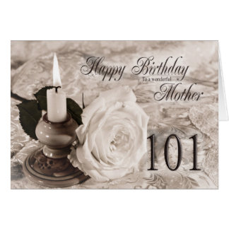 Birthday card for mother 101 The candle and rose