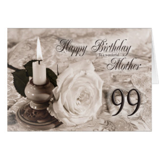 Birthday card for mother, 99. The candle and rose