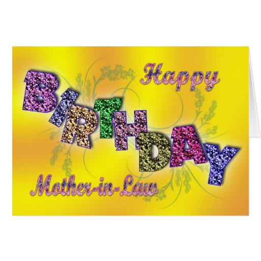 Birthday card for mother-in-law with floral text