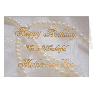 Birthday card for mother-in-law with pearls