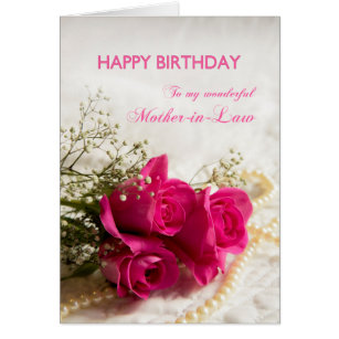 Mother in law birthday cards invitations zazzle birthday card for mother in law with pink roses bookmarktalkfo Gallery