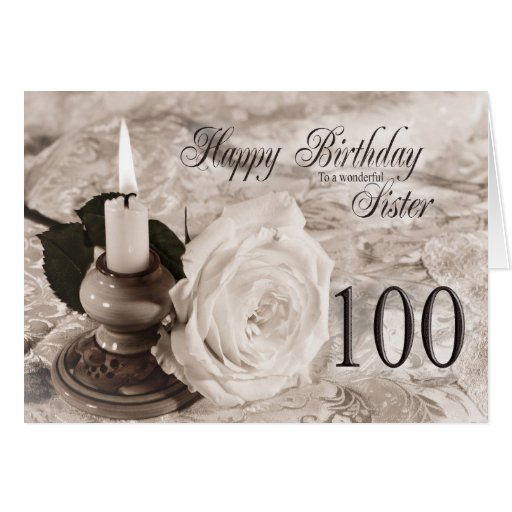 Birthday card for sister,100.  The candle and rose