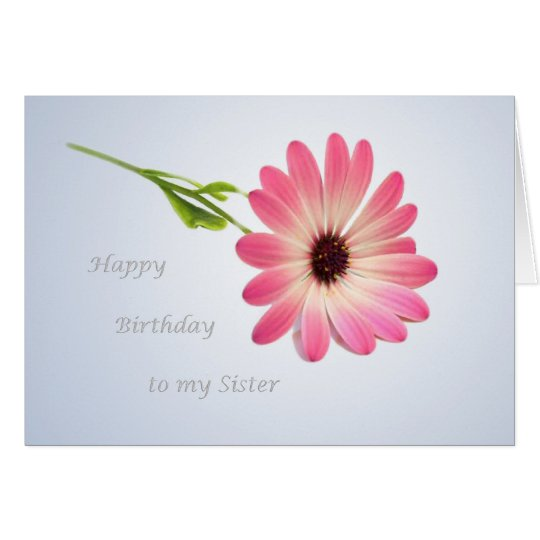 Birthday card for Sister - pink daisy