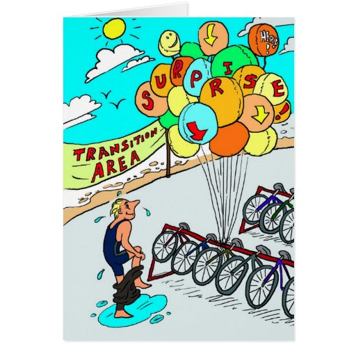 Birthday Card for Triathlete - Triathlon Balloons