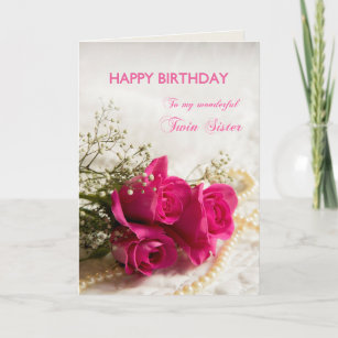 Birthday Card For Twin Sister With Pink Roses