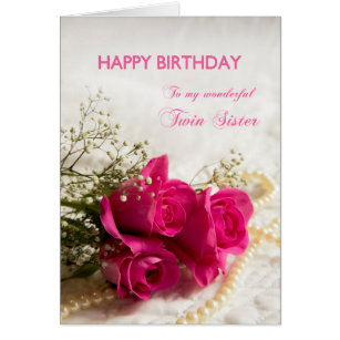 Twin sister birthday cards invitations zazzle birthday card for twin sister with pink roses bookmarktalkfo