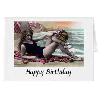 Birthday Card - Girl by the Sea - 1920s