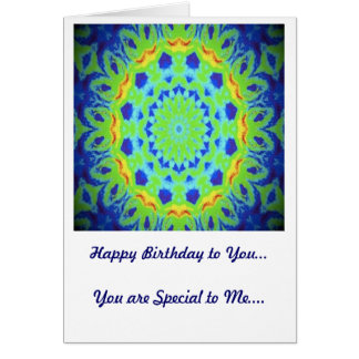 Birthday Card Green and Yellow Kaleidoscope Design Greeting Cards