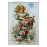 Birthday Card Greetings Roses Victorian Girl