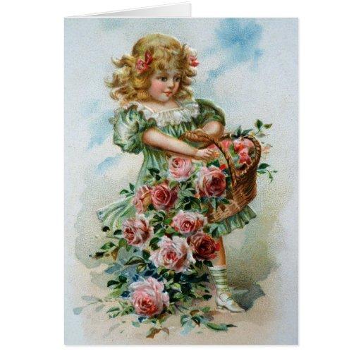 Birthday Card Greetings Roses Victorian Girl