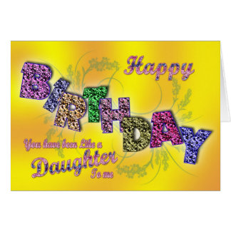 Birthday card like a daughter with floral text